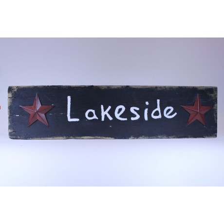 "Black ""Lakeside"" on Barnwood with Red Stars"