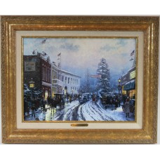Thomas Kinkade - Christmas at the Courthouse with Classic Gold Frame