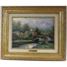 Thomas Kinkade - Lamplight Village with Classic Gold Frame