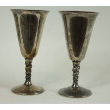 Set of 7 (2 usable and 5 display) - Vintage Silver Plated Valero - Grapevine Twisted Stem Water Goblets - Made in Spain